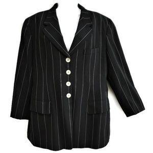 Escada Elements Blazer Black Wool Pinstripe Italy